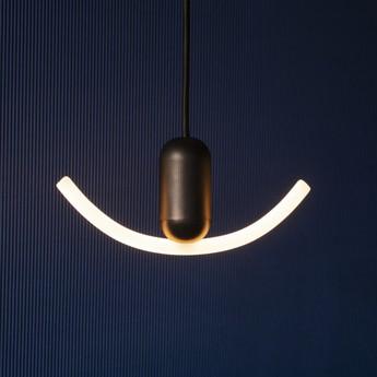 Ampoule led smile 2 verre opal blanc noir l20cm h6cm beem normal