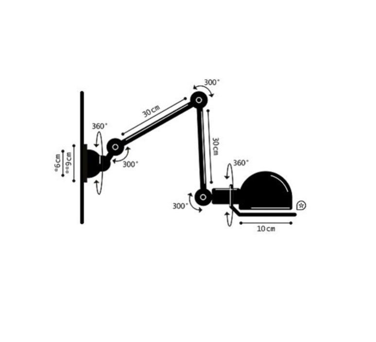 Applique 2 bras noir mat signal l60cm jielde 75459 product