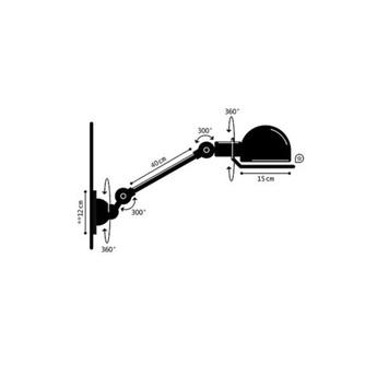 Applique a bras loft d4001nr interrupteur noir brillant o15cm l40cm jielde normal