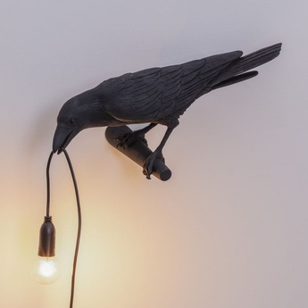 Applique d exterieur bird lamp looking left outdoor noir l32 8cm h14 5cm seletti normal