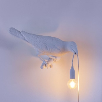 Applique d exterieur bird lamp looking right outdoor blanc l32 8cm h14 5cm seletti normal