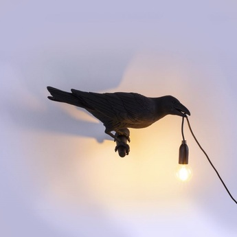 Applique d exterieur bird lamp looking right outdoor noir l32 8cm h14 5cm seletti normal