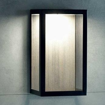 Applique d exterieur carre bois noir ip44 led 2700k 1650lm l20cm h35cm ethimo normal