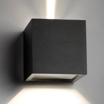 Applique d exterieur cube xl noir ip54 led 3000k 1080lm o15cm h15cm light point normal
