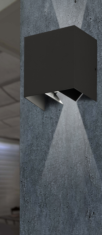 Applique d exterieur olan gris fonce ip65 led 3000k 190lm l14 5cm h14cm faro normal