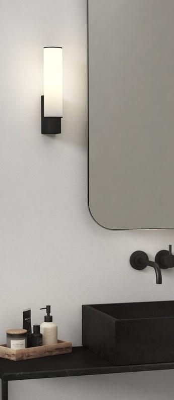 Applique de salle de bain kyoto noir mat ip44 led 2700k 318lm l6cm h27 7cm astro lighting normal