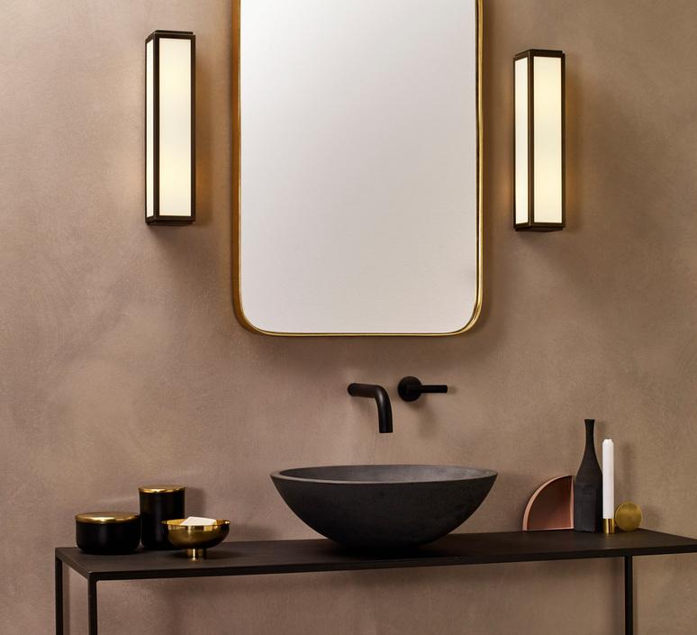Bathroomwall Light Mashiko Classic 360 Bronze Ip44 O8cm H36cm Astro Nedgis Lighting