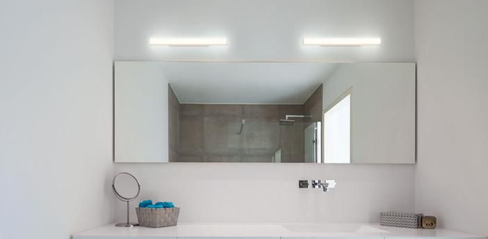 Applique de salle de bain mirba 2 0 led blanc et noir ip44 led 3000k 590 900lm o4cm h60 9cm wever ducre normal