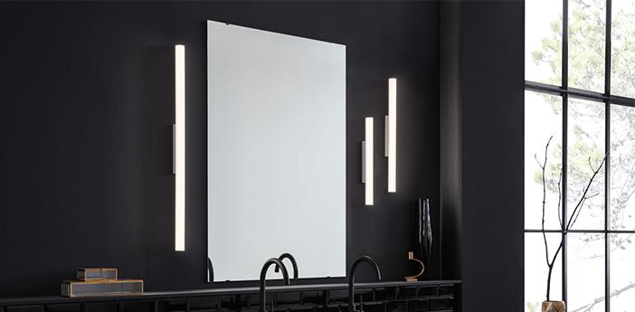 Applique de salle de bain mirba 3 0 led blanc et noir ip44 led 3000k 680 1150lm o4cm h90 9cm wever ducre normal