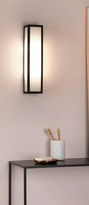 Applique de salle de bain salerno 350 noir texture ip44 led 3000k 448lm o8cm h35cm astro normal