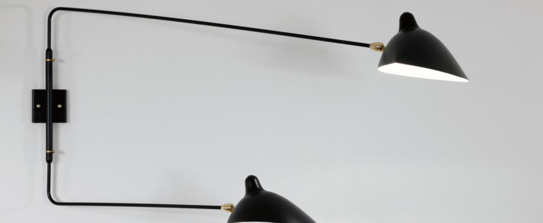 Applique double 2 bras droit pivotants noir h75cm l134 97cm serge mouille c125bae9 867d 4855 ac26 5a990525c23c normal