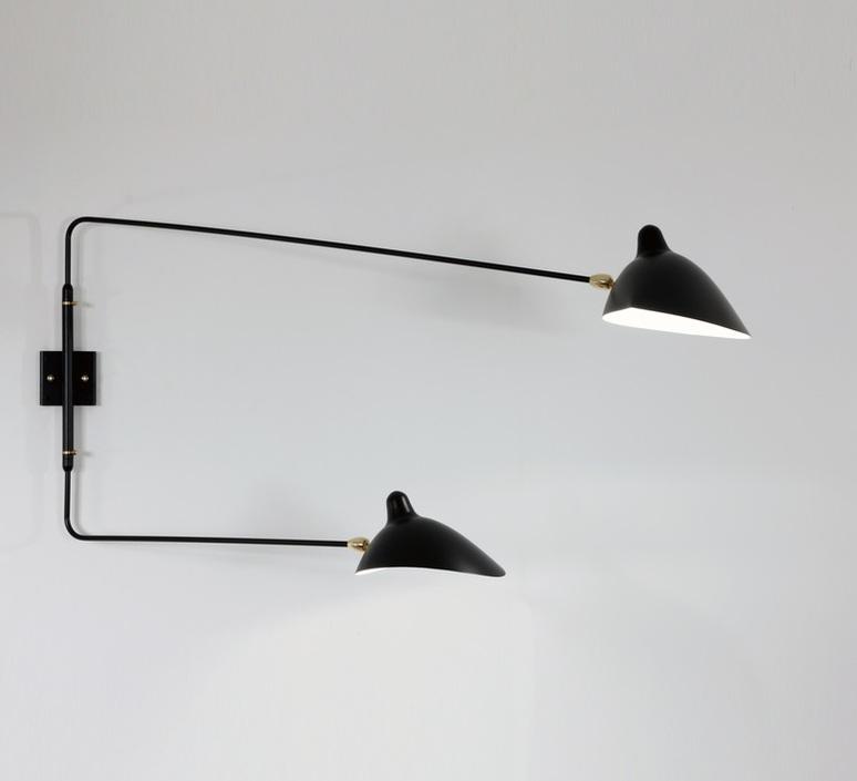 2 bras pivotants dont 1 courbe serge mouille editionssergemouille ap2b1c noir luminaire lighting design signed 100515 product