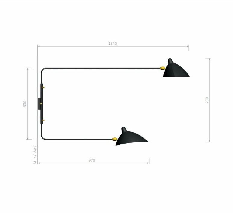 2 bras pivotants dont 1 courbe serge mouille editionssergemouille ap2b1c noir luminaire lighting design signed 100517 product