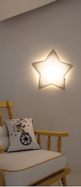 Applique etoile soft light blanc jaune led sans fil l47cm h45cm buokids normal