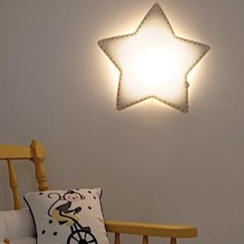 Applique etoile soft light blanc jaune led sans fil l47cm h45cm buokids normal