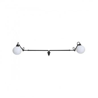 Applique lampe gras n 213 double noir globe verre o17 5cm jusqu a l145cm h15 3cm dcw editions normal