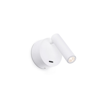 Applique liseuse en saillie boc blanc interrupteur led 3000k 3w h17cm o7 5cm faro normal