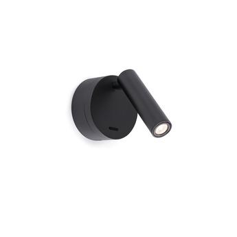 Applique liseuse en saillie boc interrupteur noir led 3000k 3w h17cm 7 5cm faro normal