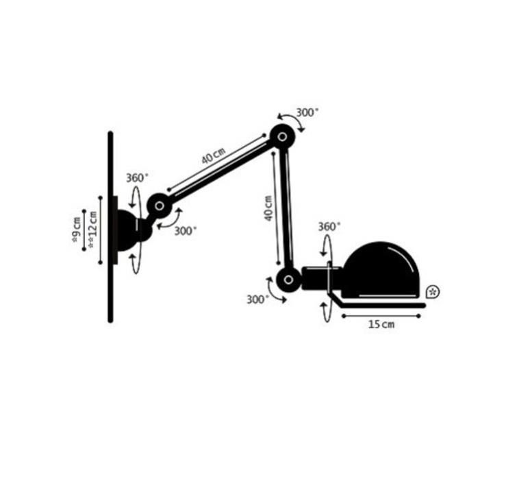 Applique loft noir mat interrupteur 2 bras l40 40cm o15cm cable prise jielde 49527 product