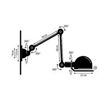 Applique loft noir mat interrupteur 2 bras l40 40cm o15cm cable prise jielde 49527 thumb