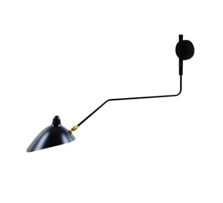 Wall light 1 rotating curve arm black h40cm serge mouille 1 bras pivotant courbe serge mouille editionssergemouille ap1bc noir luminaire lighting design signed 20777 product aloadofball Choice Image