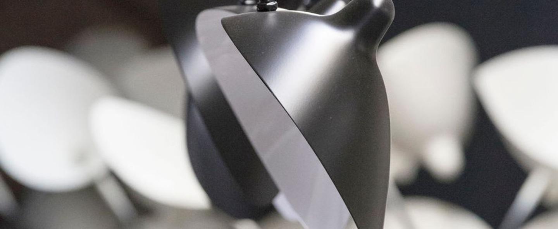 Applique murale 2 bras pivotants 1 courbe noir h70cm serge mouille normal