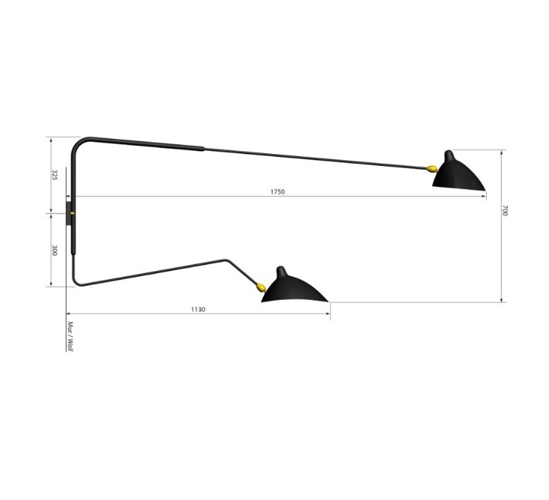 2 bras pivotants dont 1 courbe serge mouille editionssergemouille ap2b1c noir luminaire lighting design signed 20819 product