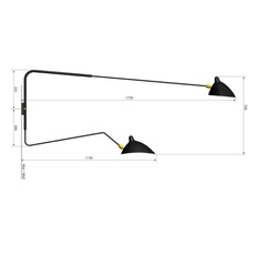 2 bras pivotants dont 1 courbe serge mouille editionssergemouille ap2b1c noir luminaire lighting design signed 20819 thumb