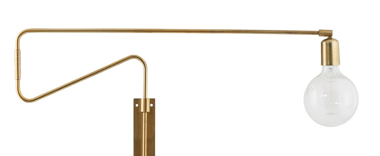 applique murale bras pivotant swing laiton l70cm house doctor luminaires nedgis. Black Bedroom Furniture Sets. Home Design Ideas