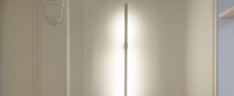 Applique murale aguja blanc led 3000 k 3300 lm o16cm h115cm dark normal