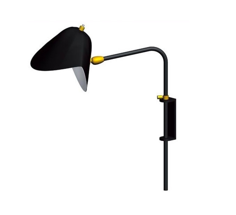 Wall light antony switch shade black h41 5cm serge mouille nedgis lig - Luminaire serge mouille ...