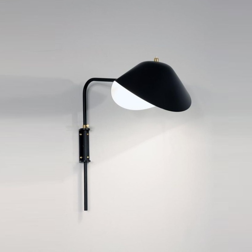 Wall Light Antony Switch Shade Black H41 5cm Serge Mouille