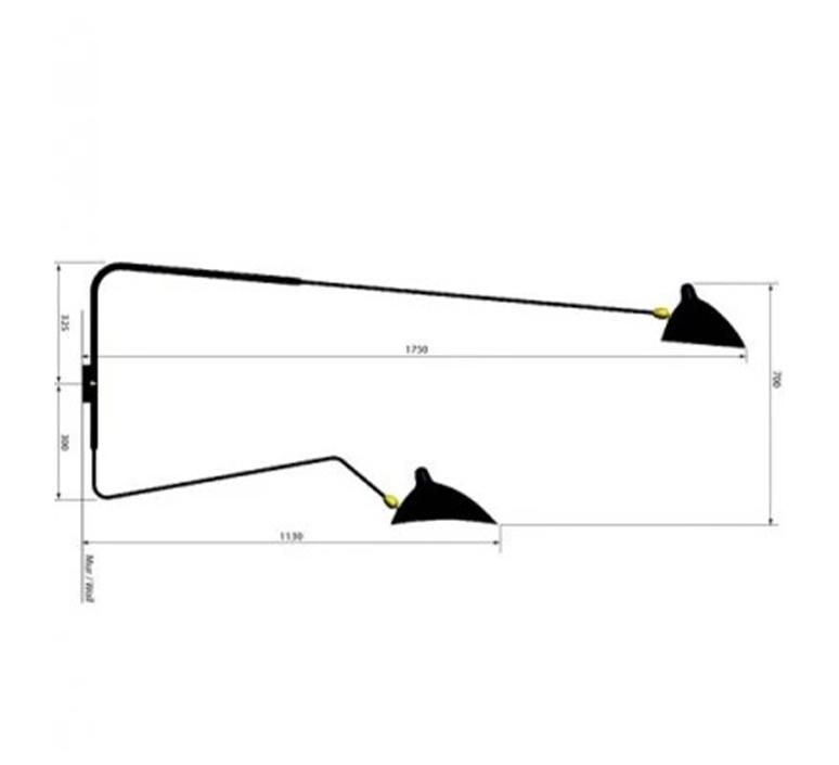 Applique 2 bras pivotants dont 1 courbe serge mouille applique murale wall light  editions serge mouille ap2b1c blanc  design signed nedgis 125335 product