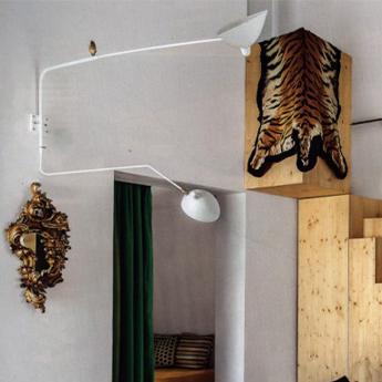 Applique murale applique 2 bras pivotants dont 1 courbe blanc l175cm h70cm serge mouille normal