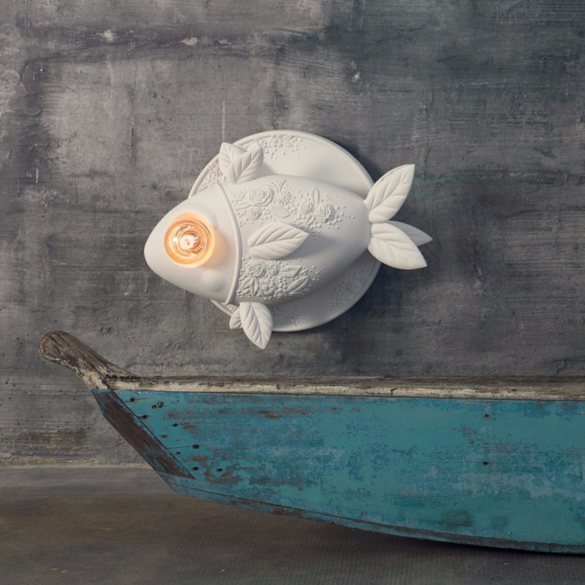 applique murale, poisson, aprile, blanc, l50cm - karman - luminaires