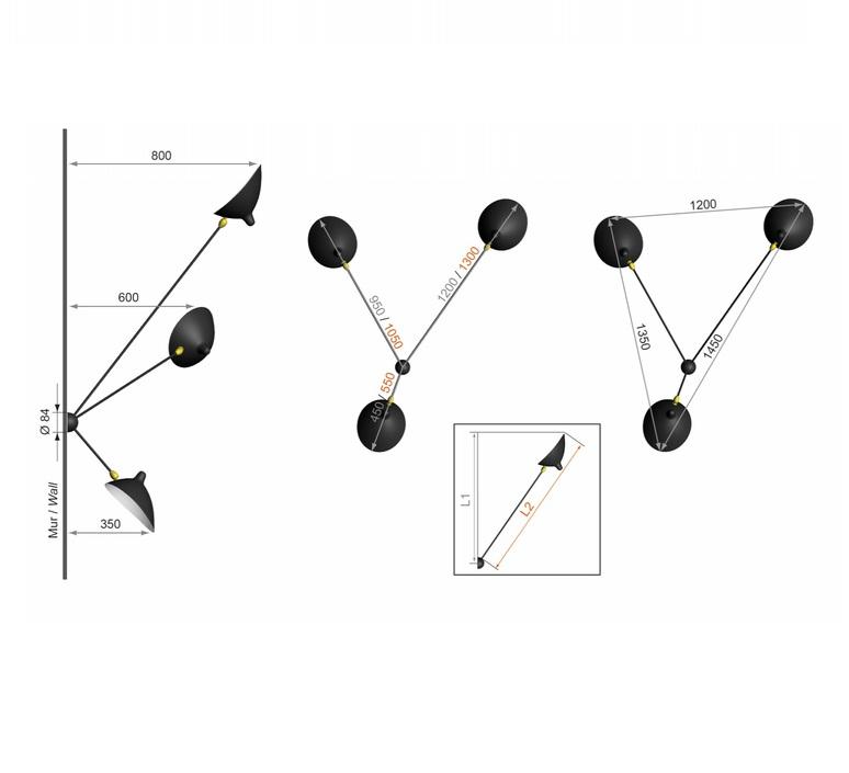 Araignee 3 bras fixes  serge mouille editionssergemouille ar3b noir luminaire lighting design signed 20783 product