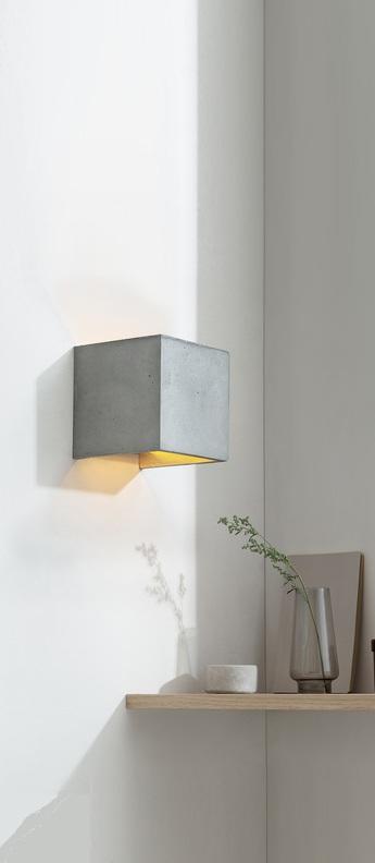 Applique murale b3 cubic gris or l14cm h14cm gantlights normal