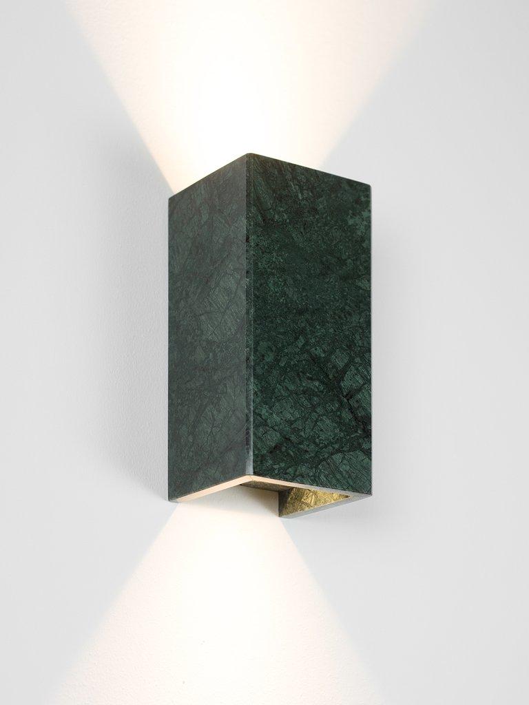 Wall Light B8 Guatemala Green Marble Gold 24k L10cm H23cm Gantlights Nedgis Lighting