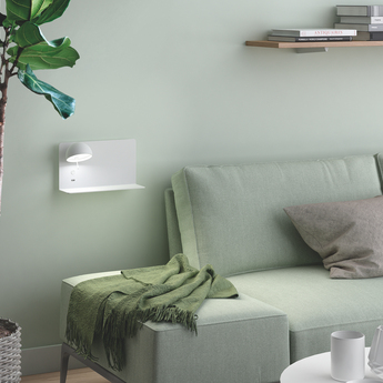 Applique murale beddy 03 gauche blanc l19cm h18cm bover normal