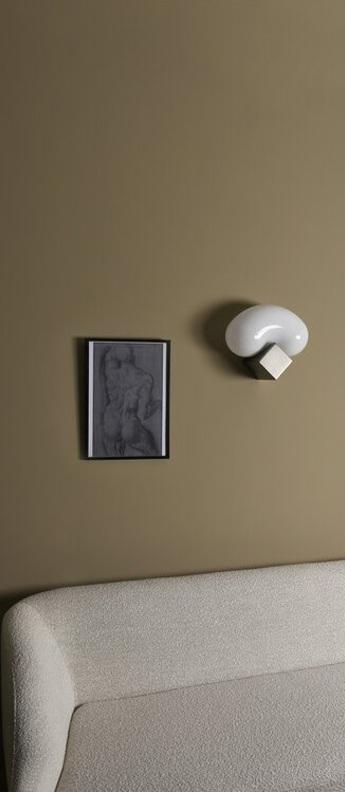 Applique murale beluga verre opal blanc argent l33cm h29cm eno studio normal