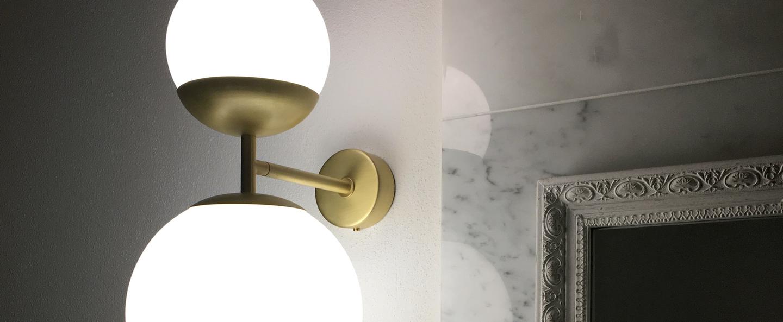 Applique murale biba laiton satine verre blanc led 2700k 1276lm l20cm h39cm tato italia normal