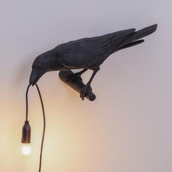 Applique murale bird corbeau looking noir 2200k 120lm l32 8cm h12 3cm seletti normal