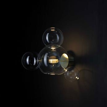 Applique murale bolle transparent laiton bruni l45cm h43 p32cm giopato combes normal