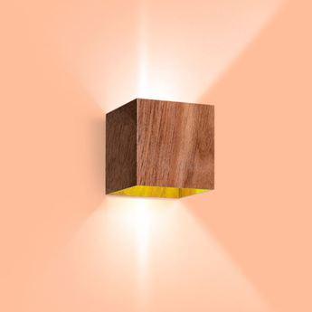 Applique murale box 2 0 led bois noyer led 2700 2x200 l10cm h10cm wever ducre normal
