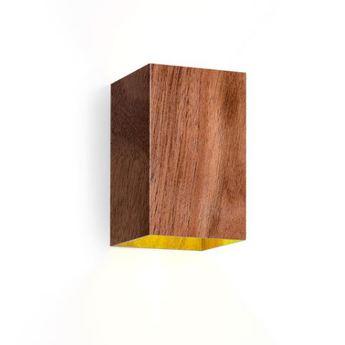 Applique murale box 3 0 led bois noyer led 2700 2x200 l10cm h16cm wever ducre normal