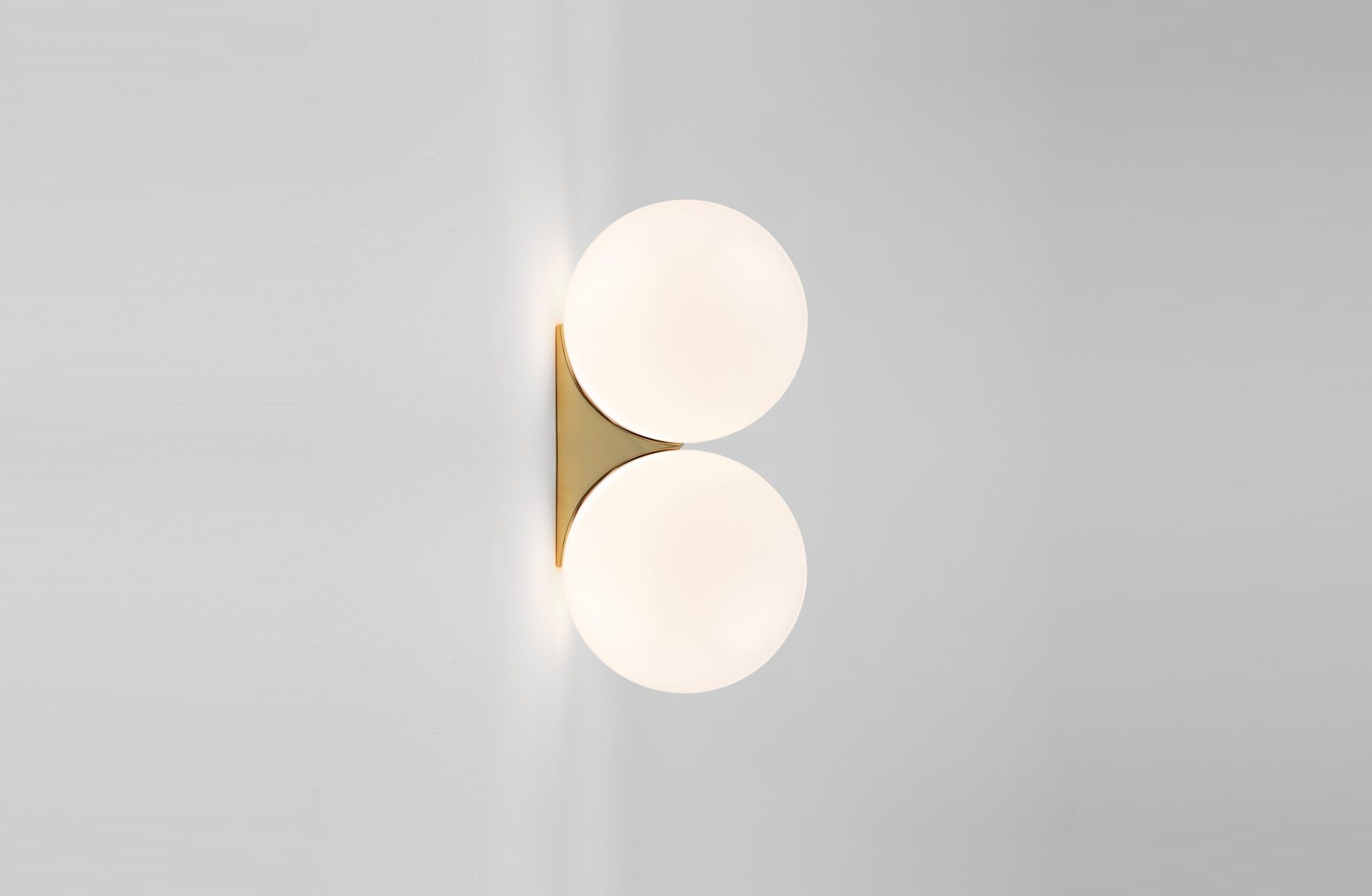 Wall light brass architecturale double sconce white and brass