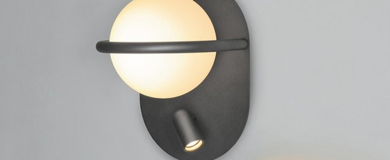 Applique murale c ball w2 noir led o19cm h27cm blux normal