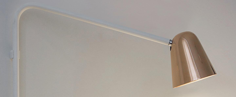 Applique murale chaplin wall blanc mat cuivre brillant h50cm l42cm formagenda normal