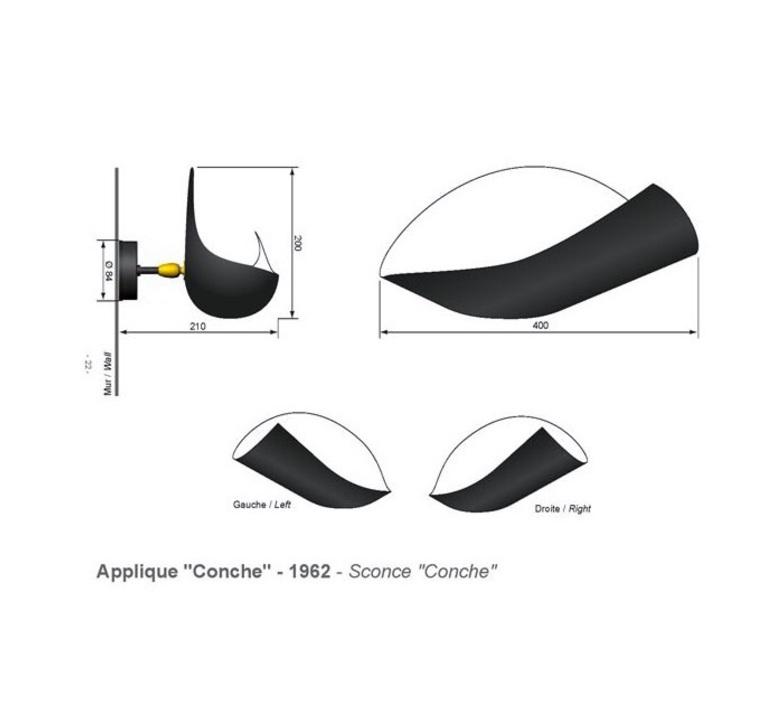 Conche droite serge mouille editionssergemouille conc noir droite luminaire lighting design signed 20802 product