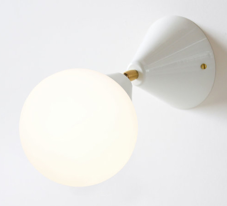 Cone and sphere  gwendolyn et guillane kerschbaumer applique murale wall light  areti cone and sphere wall ceiling white brass  design signed nedgis 64046 product